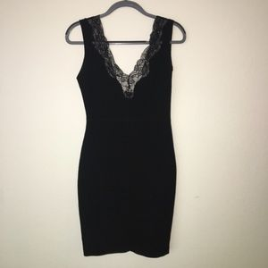 Knee-Length Black Lace Dress from Zara